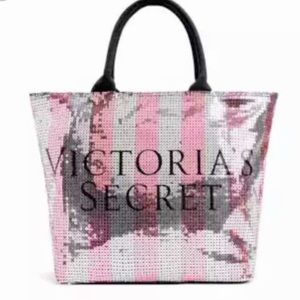 Victoria's Secret Pink Silver Striped Sequin Tote